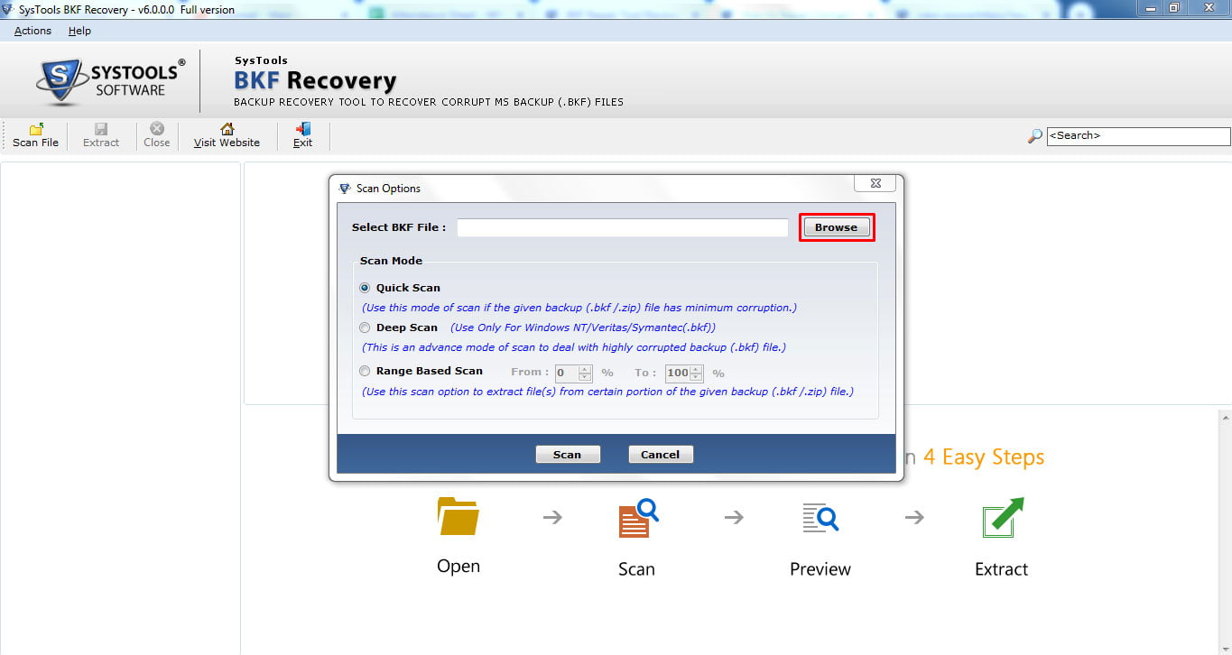 SysTools BFK Recovery Screen 2