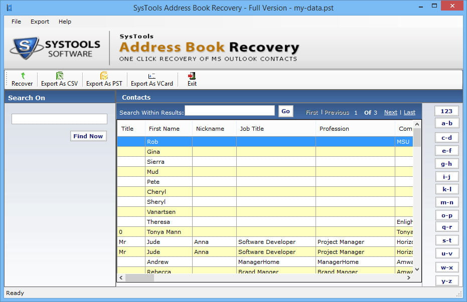Systools Address Book Recovery 3